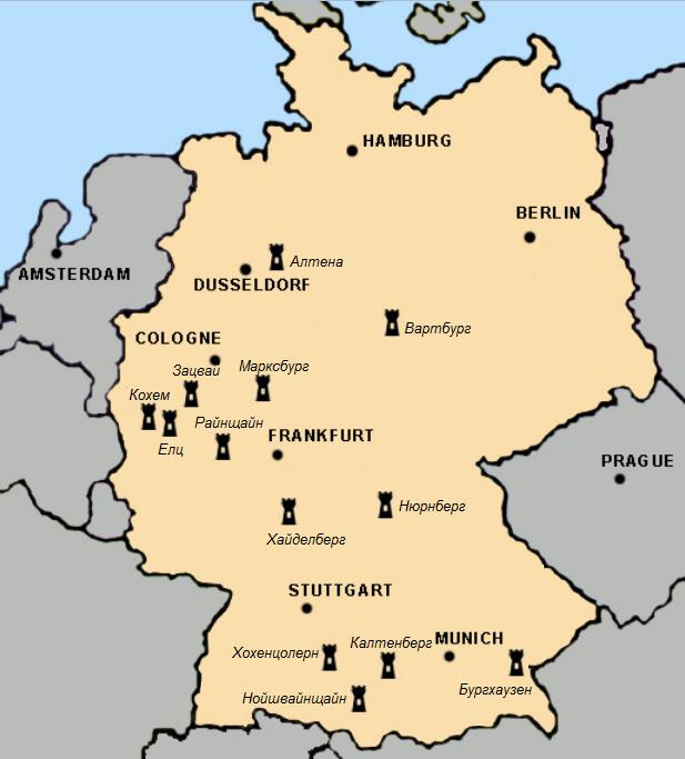 карта на замъците в германия