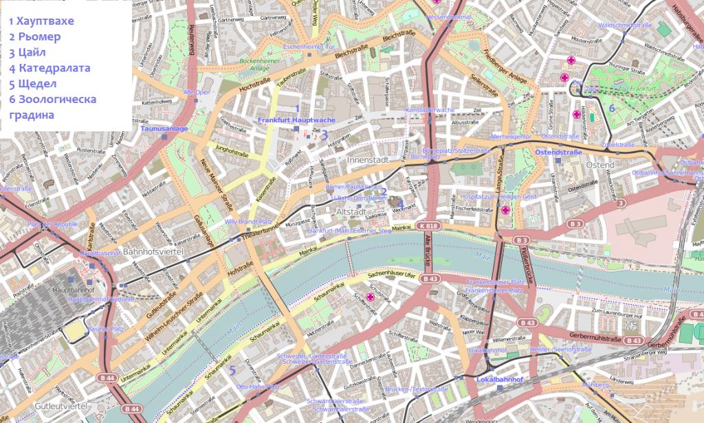 Карта със забележителности,Франкфурт, Германия